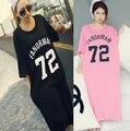 Vestido de verão, xl-4xl Big mulheres letra impressa Vestidos Vestidos estilo feminino rosa 3XL grandes senhoras vestido camisas