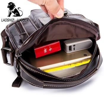 Mens Cross Body Bag | LAOSHIZI New Arrival Genuine Leather Men's Messenger Bag Vintage Zipper Shoulder Bag For Men Casual Cross Body Bags IPad Holder