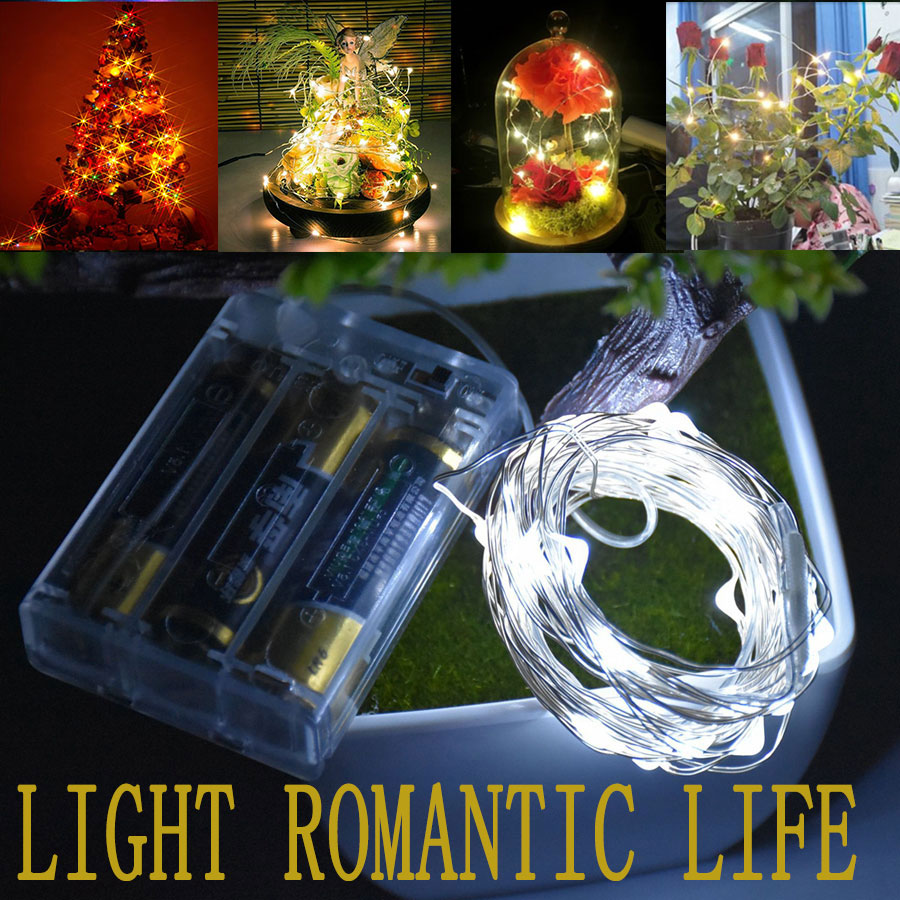 HANMIAO 2M/3M/5M/10M/100 Led String Lights Copper Wire Battery Powered Festoon Led Light Christmas Wedding Party Fairy Light 1