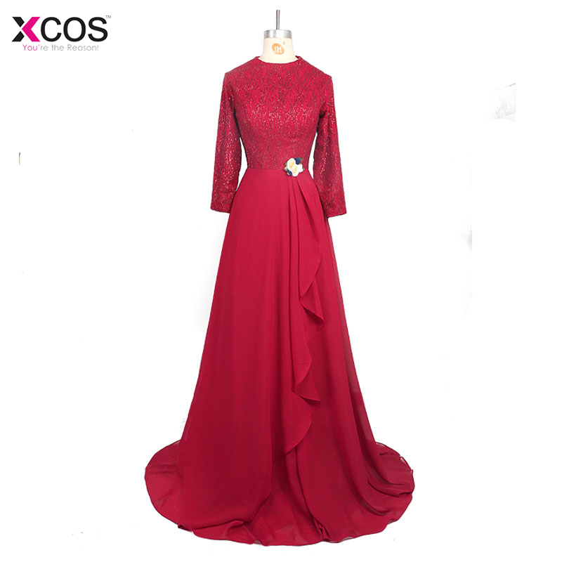 Muslim Evening Dresses Long Sleeve Burgundy Navy Blue Appliques Hijab Islamic Dubai Abaya Kaftan Long Evening Gown Prom Dress