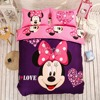 100 Cotton 4 Pieces Bed Linen Mickey And Minnie Kids Mouse Bedding Sets Pink Duvet Cover