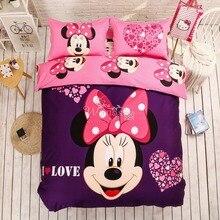 100% хлопок прекрасный Disney с Микки Маусом Минни Мыши Постельное Бельё для взрослых детей 4 шт. постельное белье включают Стёганое одеяло крышка Простыни
