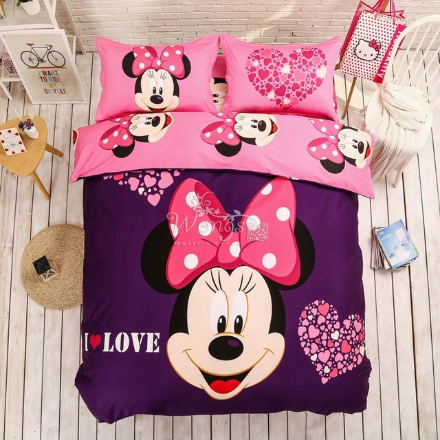 100% cotton Lovely Disney Cartoon Mickey Minnie Mouse Bedding Set for Adult Kids 4pcs Bed Linen Include Quilt Cover Sheet