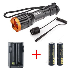 1set 2000 Lumen Tactical Zoomable CREE XM-L T6 LED 18650 Flashlight Torch Zoom Lamp Light +2×18650 Battery+Charger