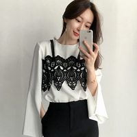 Women Shirts Patchwork Lace 17 She Mixed Color Chest Split Sleeve Blouse Shirt White A10