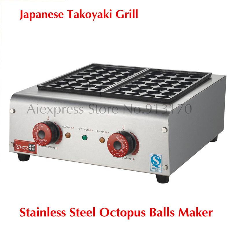 Commercial Octopus Ball Grill Maker Takoyaki Cooking Stove Machine Stainless Steel Japanese Snacks 56 Holes in Two Trays free shipping commercial non stick 110v 220velectric 16pcs 4cm japan octopus ball takoyaki grill baker maker machine