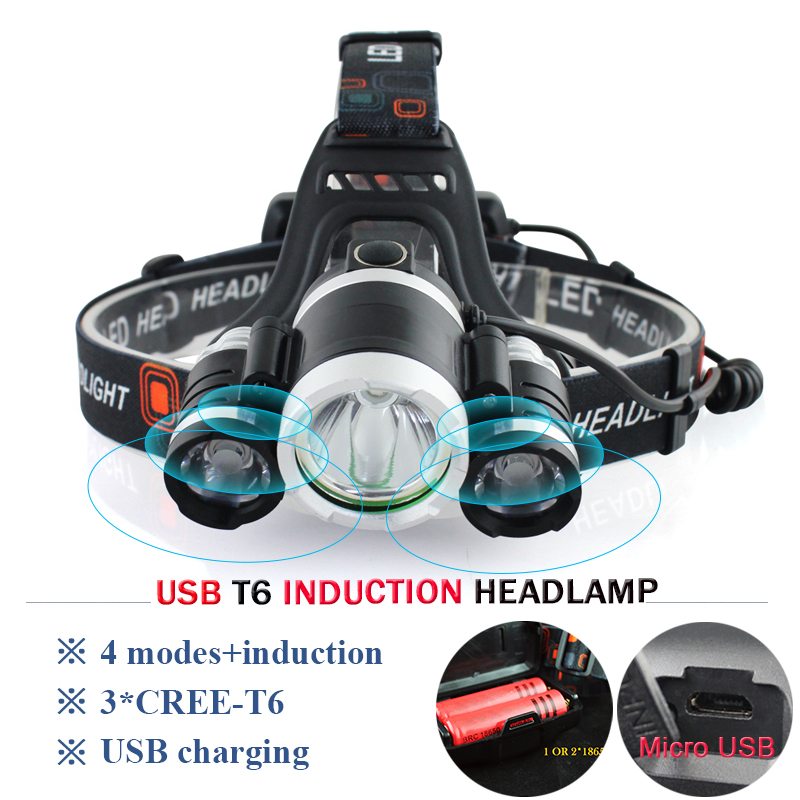 powerful led headlamp IR Induction Headlight XML T6 Micro USB head lamp Head Flashlight Torch 18650 Rechargeab camping hoofdlamp
