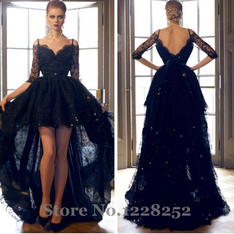 fa397f6ea1ae Sexy Off the Shoulder Half Sleeves High Low Prom Dresses Navy Blue Backless Lace  Prom Party Dress Vestido De Festa -in Prom Dresses from Weddings & Events  ...