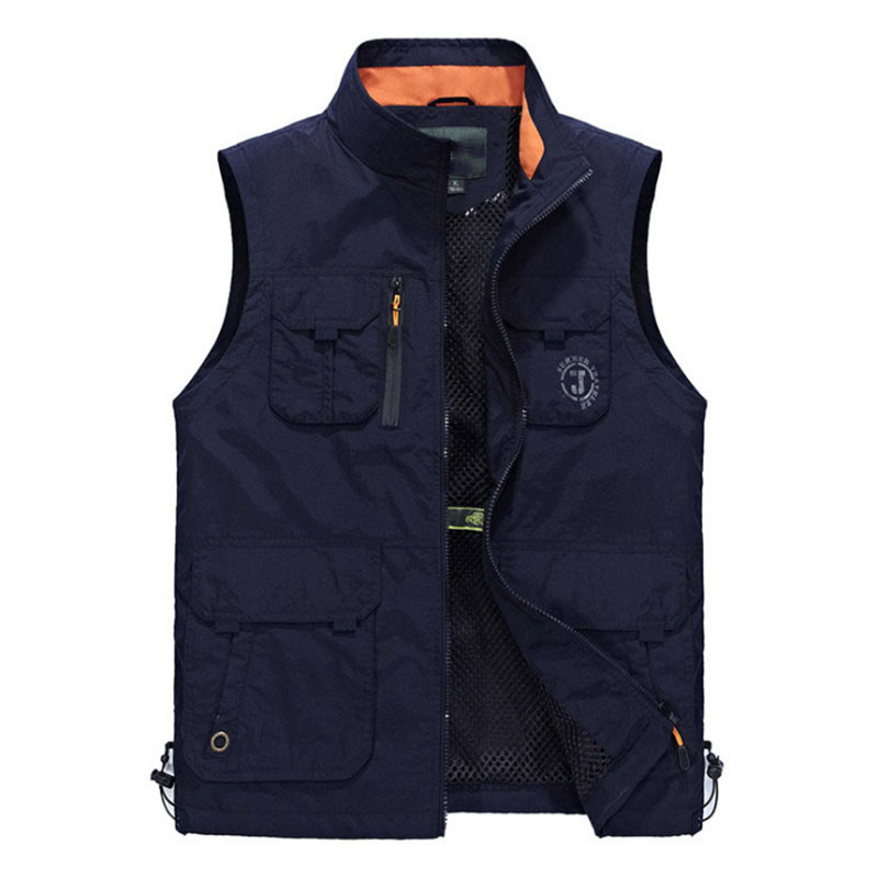 New Multi Pocket Sleeveless Vest Men Summer Breathable Waistcoat Colete Masculino Fashion Men Vest Waterproof Photographer Vest