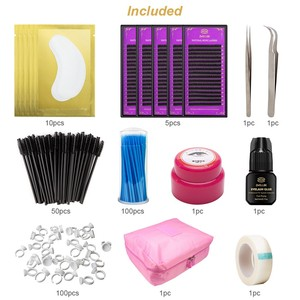 Image 5 - Professional Training False Eyelashes Extension Set Grafting Eye Lashes Practice Eye Pads Tweezers Glue Ring Brush Kits With Bag