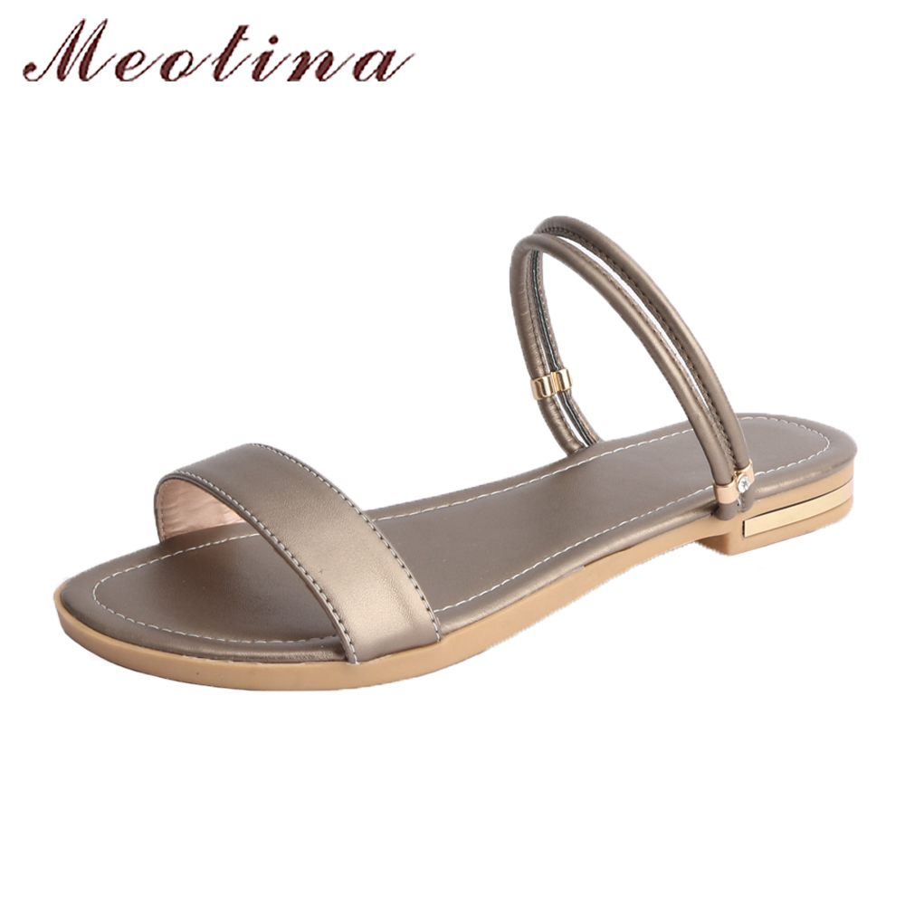 Meotina Cow Leather Summer Sandals Shoes Women Slides Casual Shoes 2018 Large Size 44 45 46 Flats Sandals Genuine Leather Shoes ribetrini summer large size 34 40 cow genuine leather woman shoes mix color leisure flats women shoes sneakers