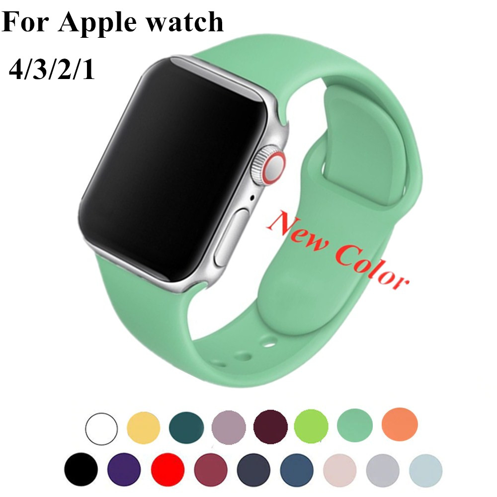 Band Strap For Iwatch Series 5 4 40MM 44MM For Apple Watch Series 4 3 38MM 42MM Soft Silicone Breathable Replacement Sport Strap