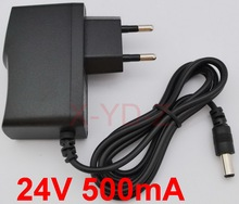 1PCS 24V 500mA High quality, IC program  AC 100V 240V Converter Adapter DC 0.5A Power Supply EU Plug  DC plug 5.5mmx2.1 2.5mm