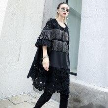 цена на Women Oversized Loose O-neck T Shirt Dress Female Streetwear Punk Gothic Short Sleeve Tassels Lace Spliced Casual Black Dresses