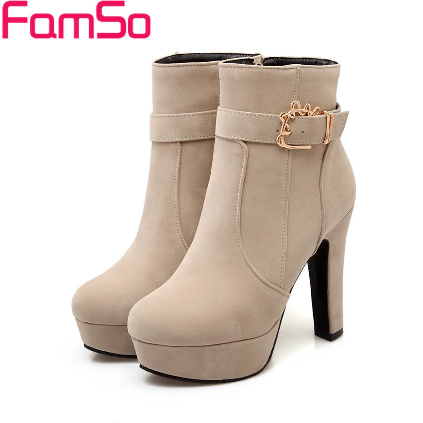 ФОТО Big Size 34-43 2017 New Arrival Women Boots buckle Apricot High Heels Single Shoes Low Fashion Women's Riding Boots ZWB3800