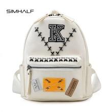 SIMHALF Высокое Качество Кожа PU Рюкзак Мода Знак Женщины Рюкзак Опрятный Стиль Школьные Сумки для Девочек Новый Mochila Заклепки Женщины Сумку