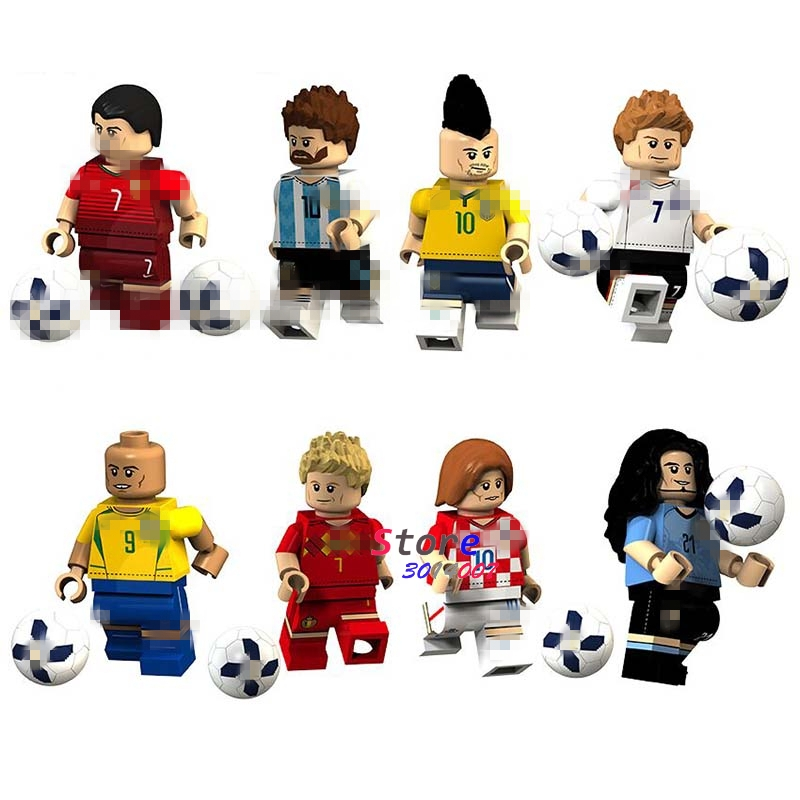 50pcs Lionel Luiz Ronaldo Neymar Beckham De Modric Bruyne Cavani Famous Football Player building blocks toys