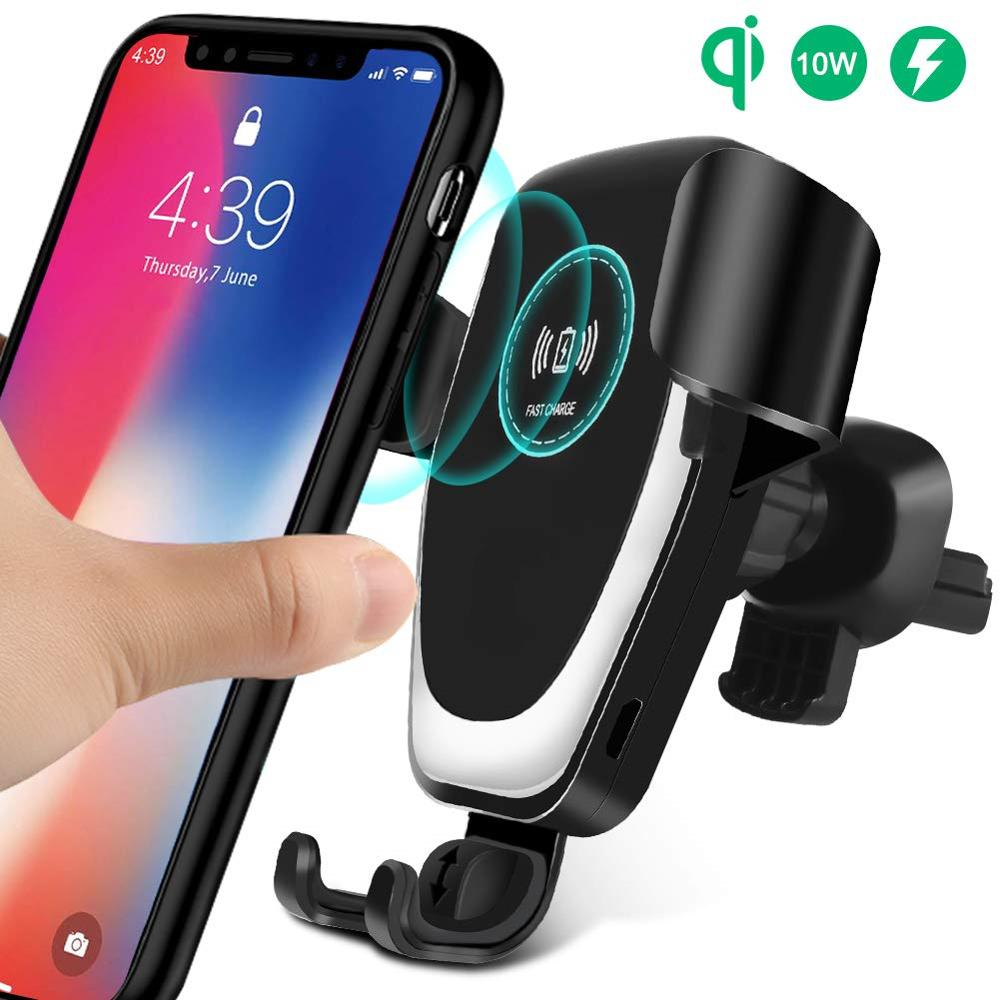 DCAE Wireless Car Charger Mount Auto Clamping 10W Qi Fast Charging Air Vent Phone Holder For IPhone 11 XS XR X 8 Samsung S10 S9