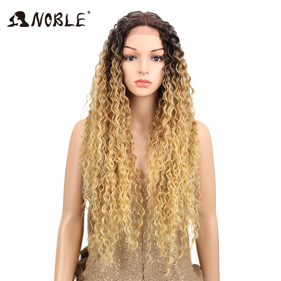 """Miracle Heat Resistant Synthetic Wigs For Black Women Kinky Curly Lace Wigs 30"""" Ombre Blonde Natural Lace Front Wig Middle Part"""