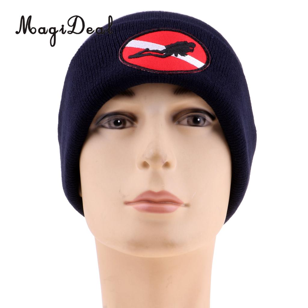 Universal Adult Comfortable Warm Knit Beanie Hat & Dive Flag/Diver Down Embroidery For Scuba Dive Swim Pool Kayak Boating Sports