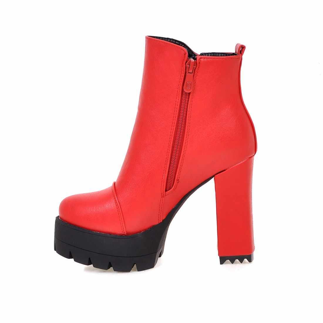 Moda Platformu yarım çizmeler Kare Yüksek Topuk Kışlık Botlar Kadın Fermuar Yuvarlak Ayak Kadın Patik Artı Boyutu Siyah Kırmızı Gri Sarı