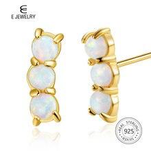 E Jewelry 925 Sterling Silver Round White Opal Earrings 14K Gold Plated Stud Earring for Women Birthstone Jewellery недорого