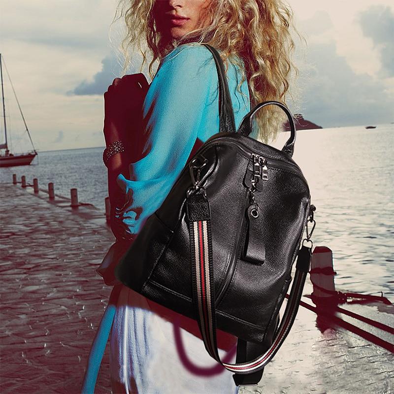 Nesitu Haute Qualité Nouvelle Mode Noir En Cuir Véritable Femmes Sac À Dos de Femme Fille Sacs À Dos Sac de Voyage de Dame Sacs à Bandoulière # M007