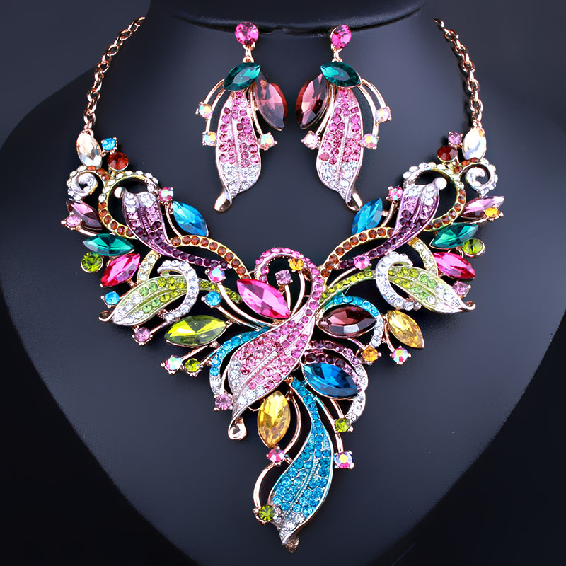 FARLENA Jewelry Hand painted leaf Necklace Earrings set for Women Bridal Wedding Party Fashion Crystal Rhinestones sets