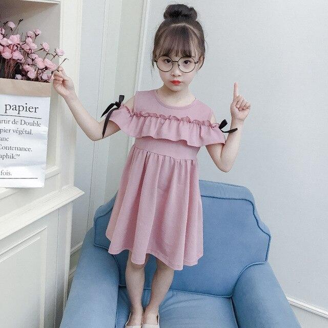 3ea991d8fda6 Girls Dress Summer Korean Kids Cute Shoulders Lotus Leaf Dress ...