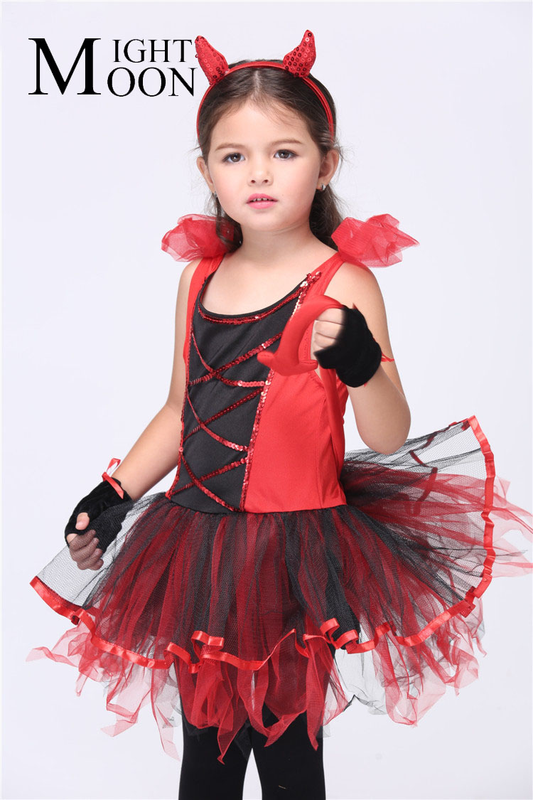 MOONIGHT Cute Devil Cosplay Costumes Halloween Stage Performance Child Costumes Vestido Tutu Dress Kids Carnival Party Outfit