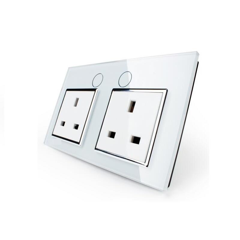UK Standard Wall Power Socket,OS-02UK-1/2, Wall Switch, White Crystal Glass Panel, Manufacturer of 13A Wall Outlet manufacturer all aluminum panel uk standard pop up floor socket single power outlet rj45 audio 10 pcs set