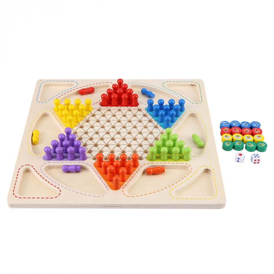Kids Toys Wooden Colorful Chinese Checkers Family Game Set Western Publishing Smooth Aeroplane Chess Chinese Learning Toys ...