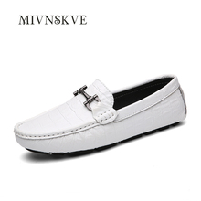 MIVNSKVE Black flats wedding mens party shoes genuine leather mens casual business shoes formal mens office shoes with buckle