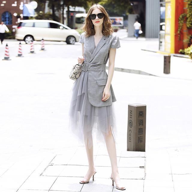 Fleepmart New Fashion Runway Designer Summer Dress Women Clothes 2019  Elegant OL Notched Collar Blazer Patchwork Tulle Party Office Dress