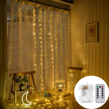 Battery powered 3X3M 300 leds Copper wire LED curtain string light Waterproof party Wedding New Year Christmas Curtain Garlands