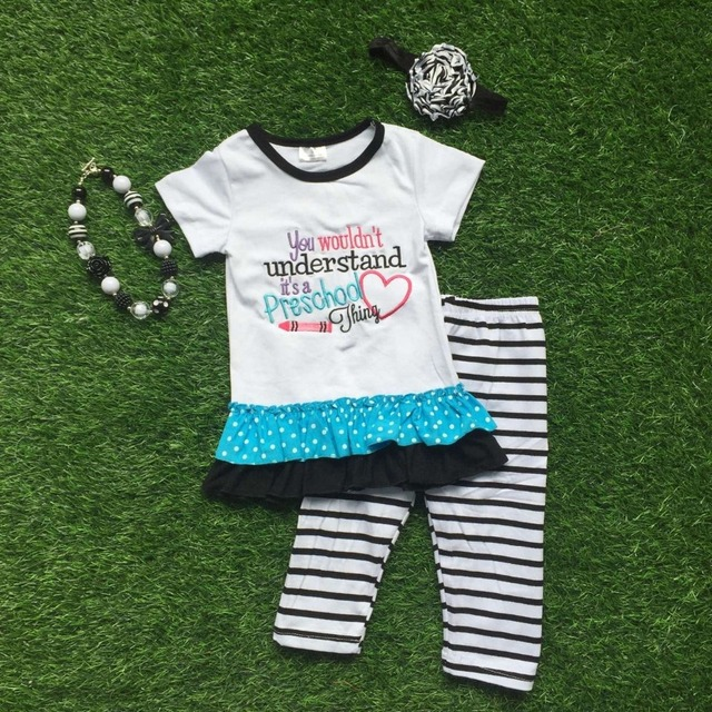 2016 Summer back to school outfit girls cute clothes white preschool kids  clothing stripes pants set baby kids with accessories 7e4a575e32