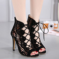 2017 Fashion Black Gladiator Sandals Women Hollow Out Cross Strape Tie Up Thin High Heels Sandals Women Sandalia Feminina WO075