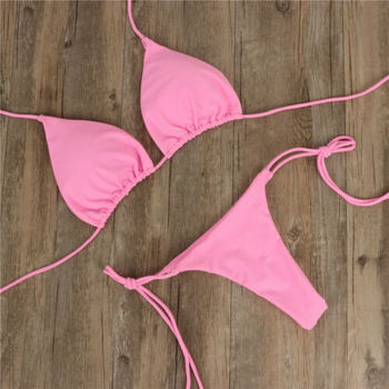 Tie Side Solid Color G-String Thong Bikini 4