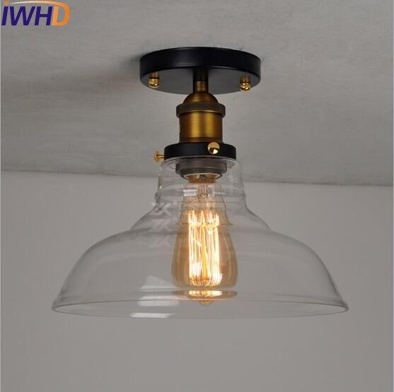 IWHD стеклянный Лофт промышленный потолочный светильник Эдисона, светодиодный светильник для гостиной, плафон, Ретро винтажный потолочный светильник - Цвет корпуса: 25cm