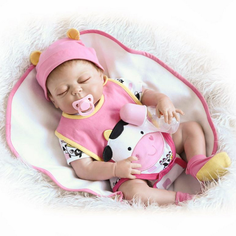 Full silicone reborn baby girls dolls lifelike newborn eye closed babies doll for child bathe shower bedtime toy doll collection full silicone reborn dolls