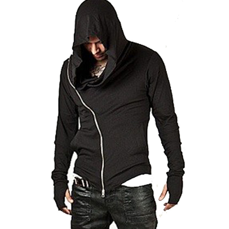 Hoodie Cardigan Men Cloak Long Hoodies Sweatshirt Male Long Sleeve Zipper Solid Assassins Creed Cotton Overcoats Cool