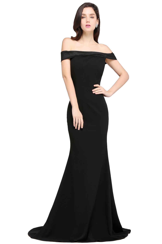 Neue Ankunft Günstige Schwarz Lange Abendkleider Weg Von der schulter Prom  Kleider Einfache Lange Meerjungfrau Abend Party Kleid Kleider