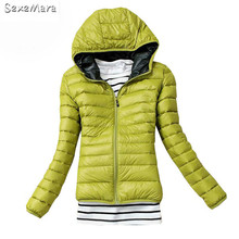 2017autumn Winter Women Silm Hooded Warm Outwear Down Jacket Girls Cotton Parkas Candy-colored Coats Casacos De Inverno Feminino