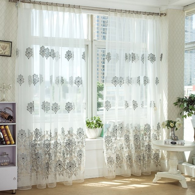 High Quality Grey Embroidered Tulle Curtains For Living