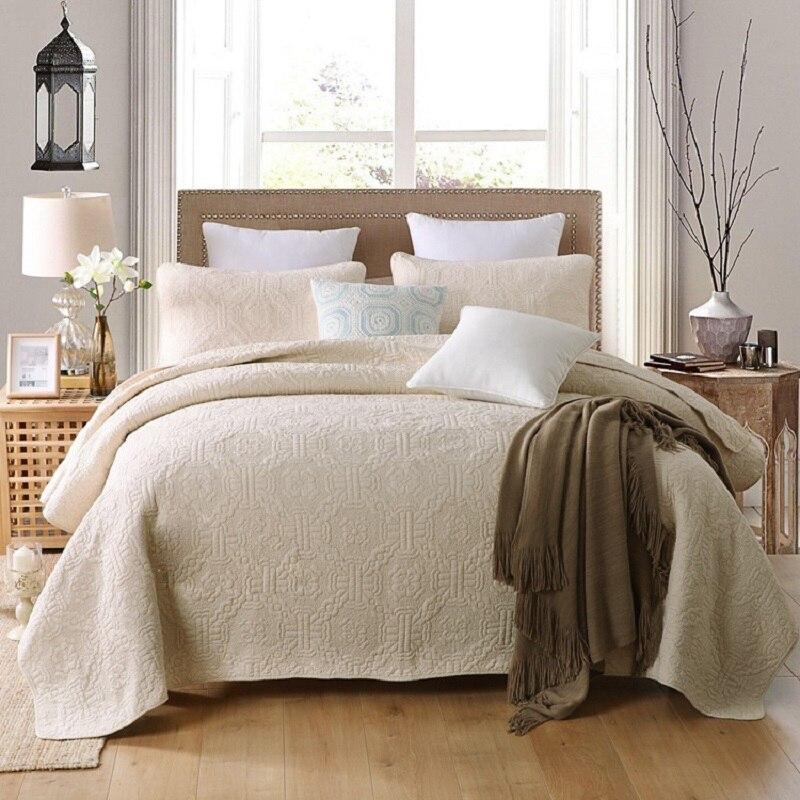CHAUSUB Beige Quilt Set 3PC 100% Cotton Quilts Embroidered Quilted ... : beige quilt - Adamdwight.com