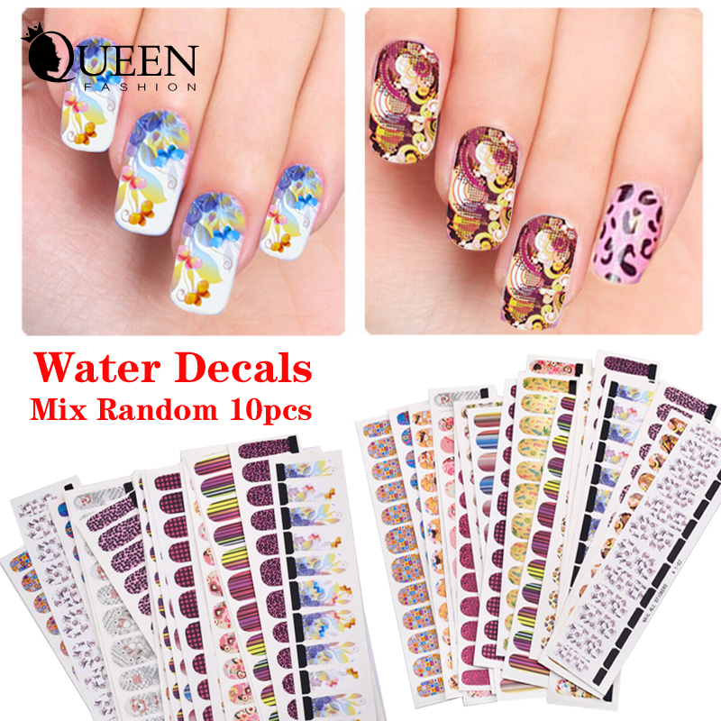 (Gaga Deal) 10 sheets Hot Flowers Leopard Designs Water Transfer Nail Art Stickers Decals Full Cover DIY Beauty Nail Decorations