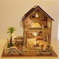 DIY Casa Apartamento em Paris Artesanal Montados Brinquedos de Presente de Aniversário Criativo Casa Modelo Villa Casa de Bonecas DIY