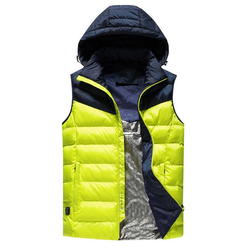 Men Winter Outdoor Heated Smart USB Work Heating Sleeveless Jacket Coats Adjustable Temperature Control Safety Clothing