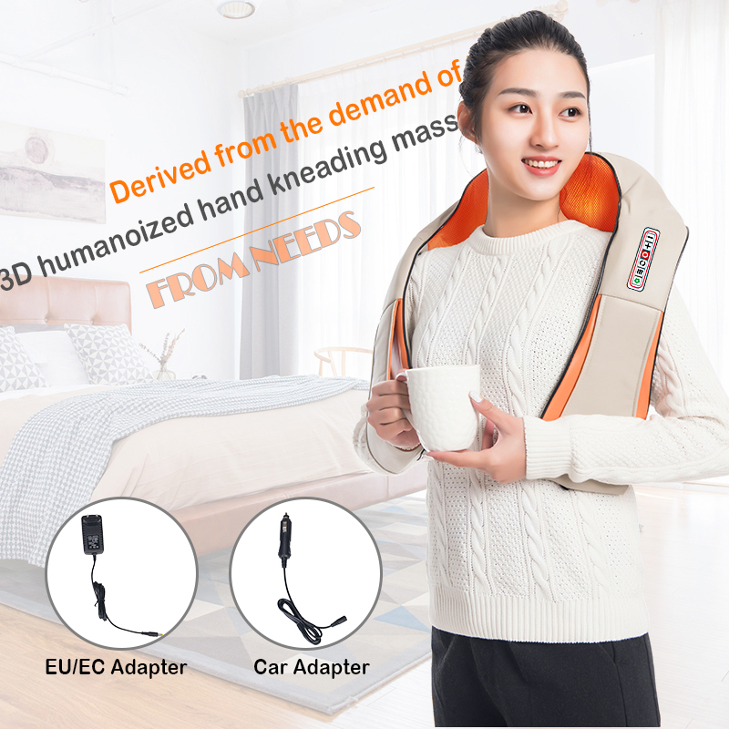 Electrical Shiatsu Back Neck Shoulder Body Infrared Heated Kneading Massager For Car/Home 10