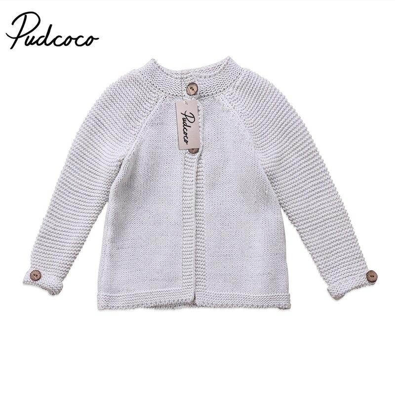 1-7y Nette Graue Pullover Kleinkind Kinder Baby Mädchen Langarm Mantel Taste Pullover Strickwaren Mantel Kleidung 100% Original